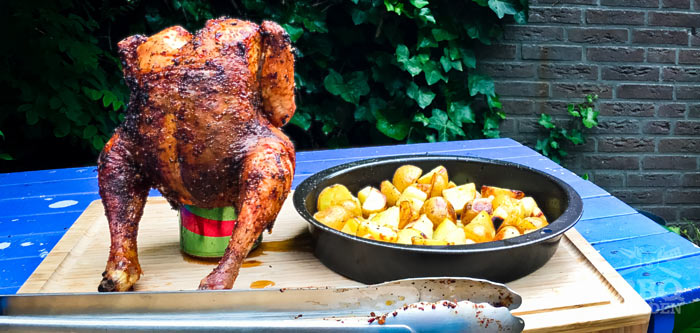 barbecue beer can chicken gas grill