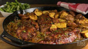 Iberico steaks met gekarameliseerde ui