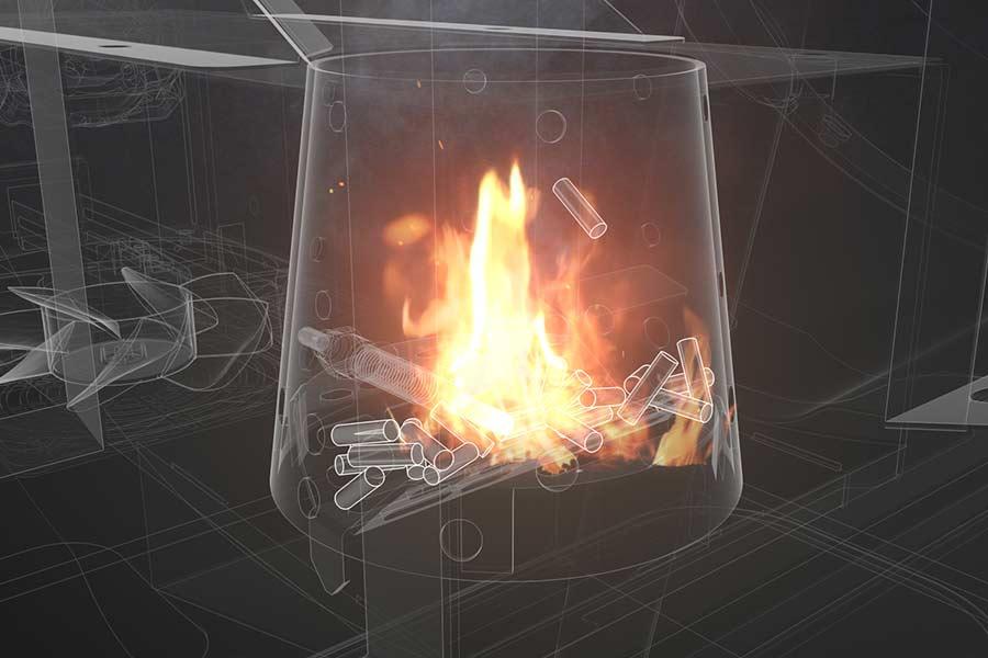 doorzicht verbrandingskamer smokefire
